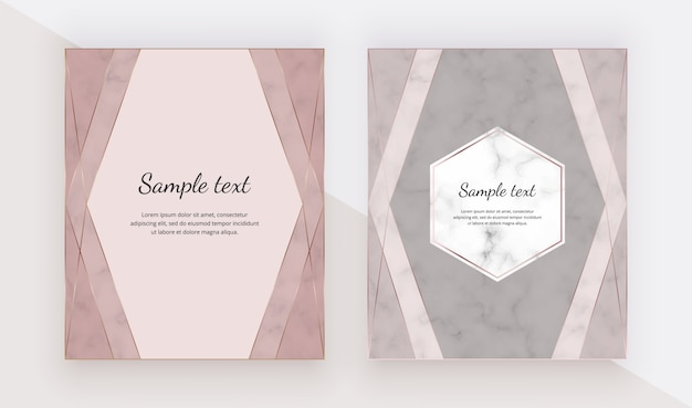 Roségold-designkarten mit polygonalen linienrahmen.
