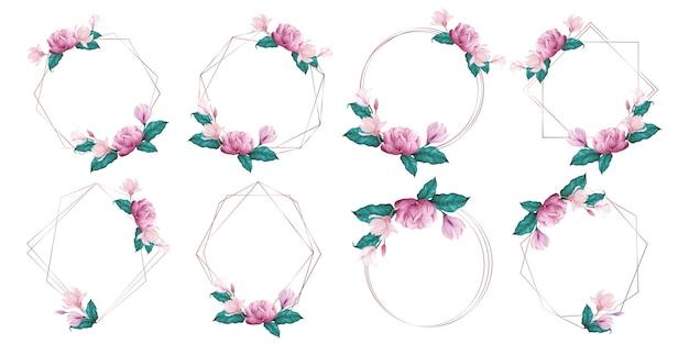 Roségold-geometrischer rahmen verziert mit rosa blume in der aquarellart