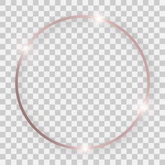Roségold glänzender runder rahmen mit leuchtenden effekten und schatten auf transparentem hintergrund. vektor-illustration