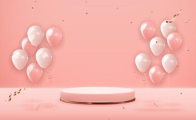 Roségold-sockel mit partyballons. trendy leere podestanzeige