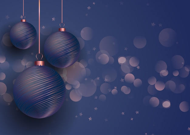 Roségold und blaue weihnachtskugeln
