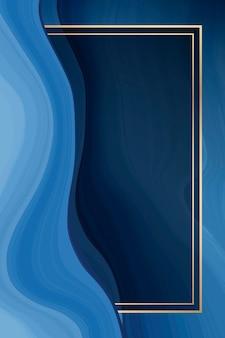 Roségoldener rahmen auf blauem, flüssig gemustertem hintergrund