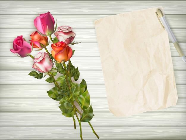 Rosen auf hölzernem hintergrund.