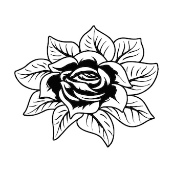 Rosen blume tattoo-vektor-illustration