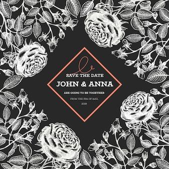 Rosen blumen vorlage. hand gezeichnete illustrationen auf kreidetafel. botanischer retro-hintergrund.