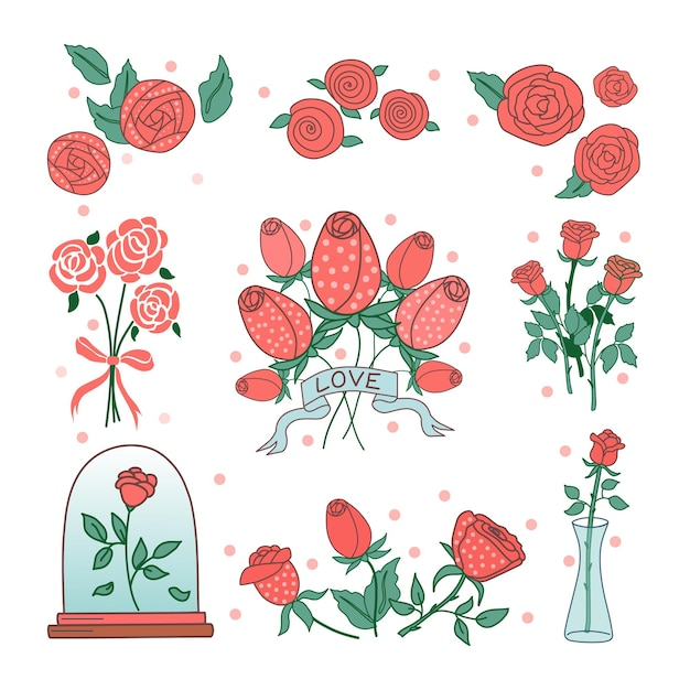 Rosen-cartoon-set auf weißem hintergrund. zur dekoration von postkarten, einladungen, fotos. vektor.