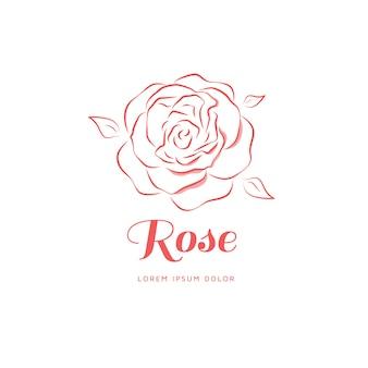 Rosen-emblem in einem linearen stil.