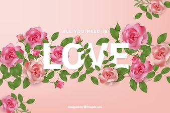 Rosen Hintergrund mit Liebe Wort