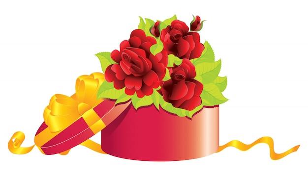 Rosen im geschenkkarton