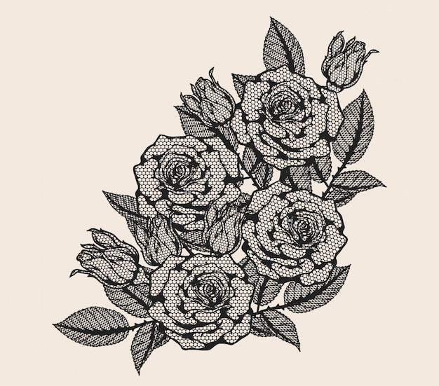 Rosen-spitzeverzierungsvektor eigenhändig zeichnen