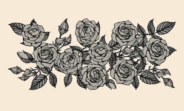 Rosen-vektorspitze, die eigenhändig zeichnet