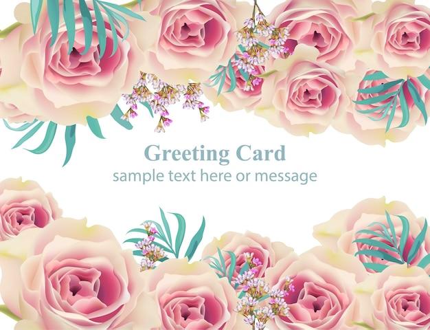 Rosen-weinlesegrußkartenhintergrund, blumenschablonen