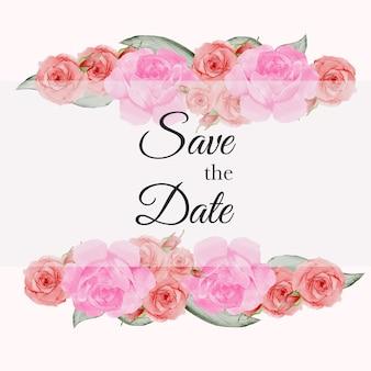 Rosenaquarellvektor stellte schönen blumenblumenstraußblumenrahmenhintergrund ein