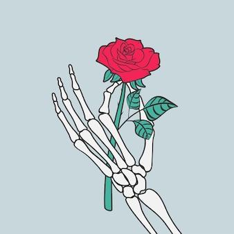 Rosenblume in der skeletthand. vektor-illustration.