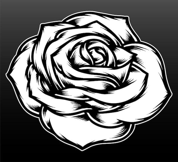 Rosenblume isoliert auf schwarz