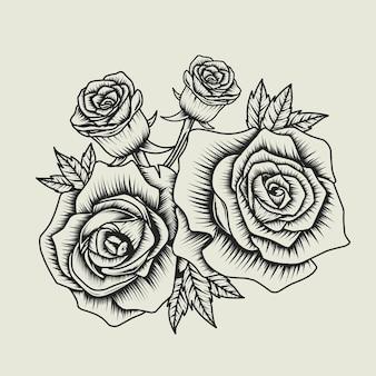 Rosenblume schwarz und weiß