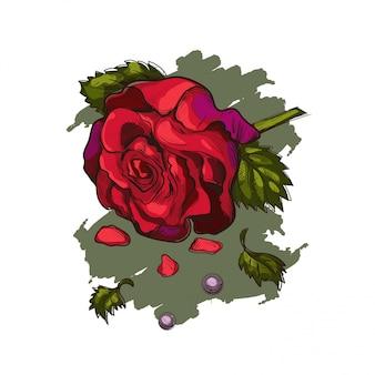 Rosenblume und perlen isolierte vektorskizze.
