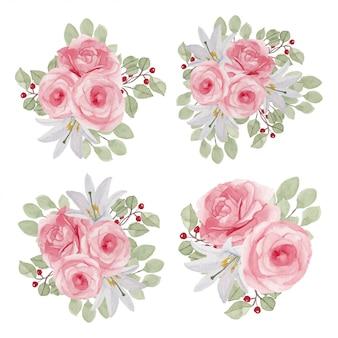 Rosenblumenaquarellillustrationssammlung in der rosa farbe