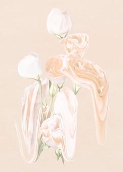 Rosenblumenaufklebervektor, pastellweiße trippy psychedelische kunst