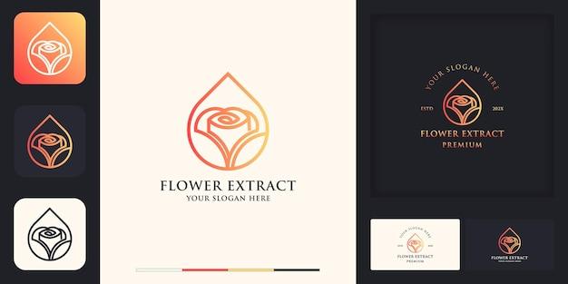 Rosenblumenlogo verwendet linienkonzept und visitenkartendesign