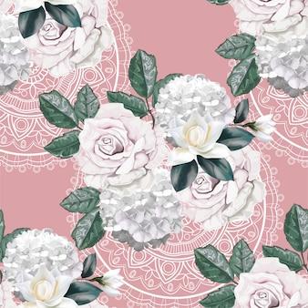 Rosenblumenstrauß auf nahtlosem muster der spitzes