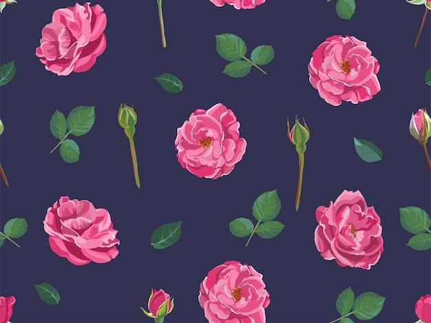 Rosendruck mit blühenden blumen und knospenmuster