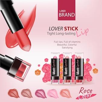 Rosenfarbton lippenstift mit kosmetik und blumen draufsicht auf rosa hintergrundrosenblume