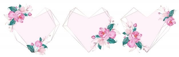 Rosengoldgeometrischer rahmen verziert mit rosa blume in der aquarellart für hochzeitseinladungskarte