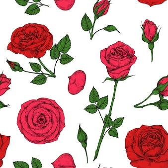 Rosenmuster. rosenblumenstrauß der roten blüte. nahtloses vektorzeichnungsmuster der blumen
