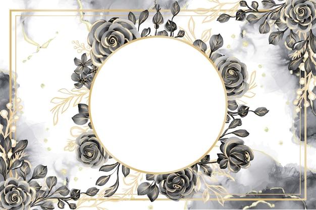 Rosenschwarz- und -goldaquarellhintergrundblumenrahmen mit weißem raum