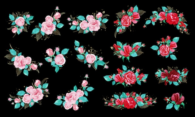 Rosenstraußbündel im aquarellstil für hochzeitseinladung oder grußkarte.
