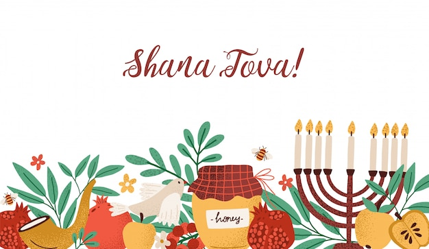 Rosh hashanah horizontales banner mit shana tova inschrift verziert von menora, schofarhorn, honig, äpfeln, granatäpfeln und blättern.