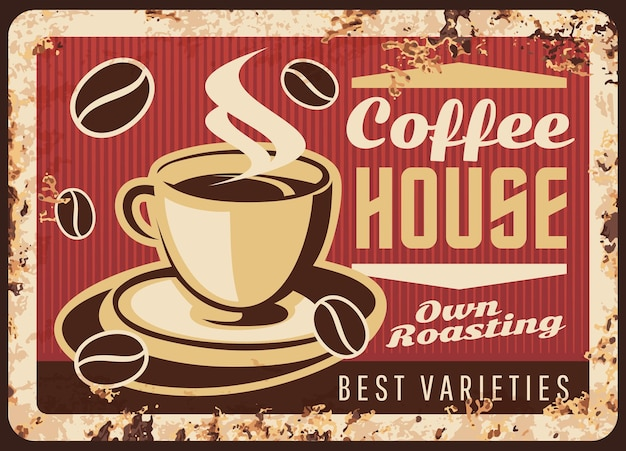 Rostige metallplatte der dampfenden kaffeetasse