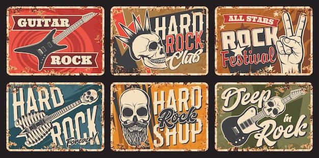 Rostige metallplatte der hardrockmusik