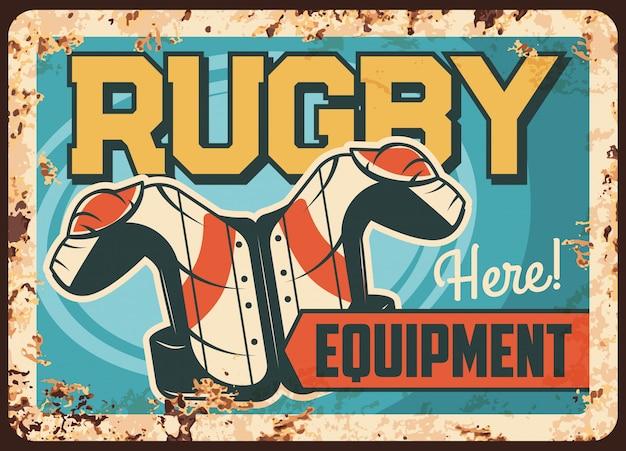 Rostige metallplatte der rugby-ausrüstung