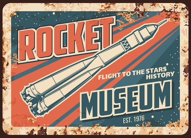 Rostige metallplatte des raketenmuseums