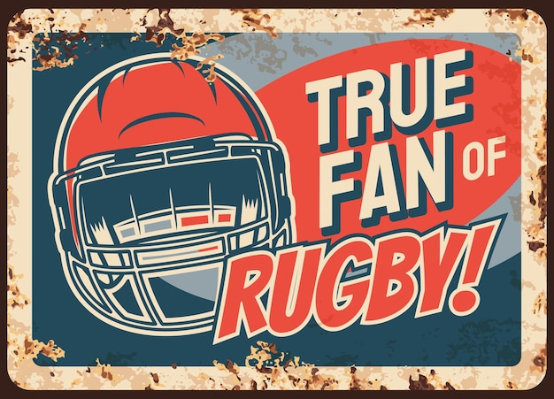 Rostige metallplatte des rugby-sportfans