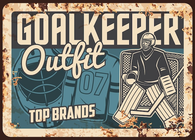 Rostiges metallplatten-illustrationsdesign des eishockey-outfit-shops