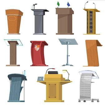 Rostrumvektorpodiumstand für sprechersprachedarstellung auf geschäftskonferenzillustrationsseminar-kommunikationssatz der tribüne der allgemeinen debatte der haupttribüne auf stadium lokalisiertem ikonensatz