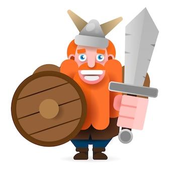 Rot-bärtiger wikinger mit schild und axt lächeln. vektor-illustration
