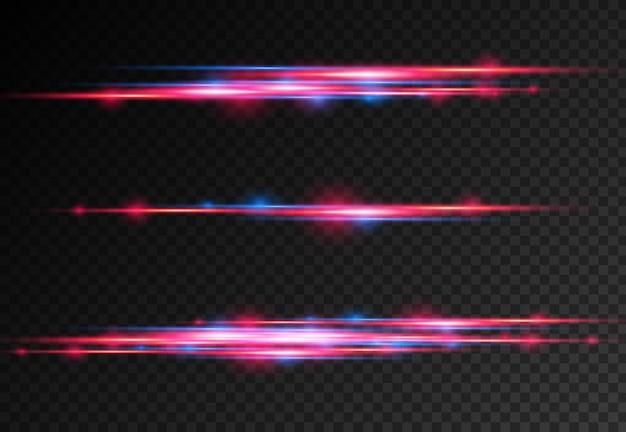 Rot-blaue spezialeffekt-laserstrahlen horizontale lichtstrahlen bewegungsmagie der bewegung schneller linien