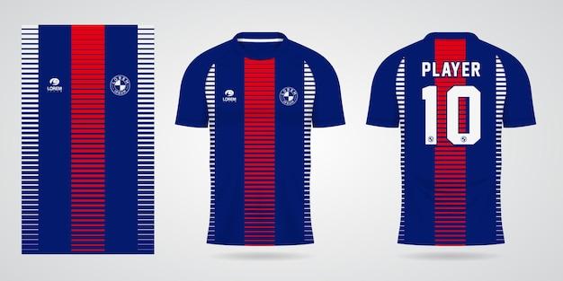 Rot-blaue sport-trikot-vorlage für teamuniformen und fußball-t-shirt-design