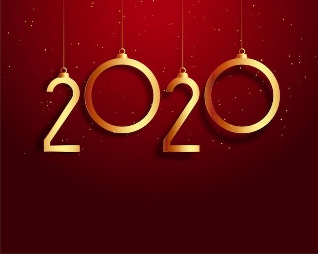 Rot des neuen jahres 2020 und goldhintergrund