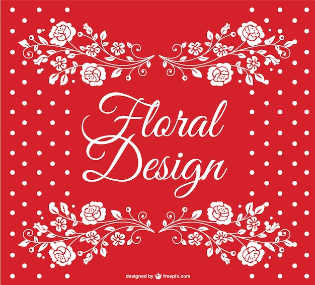 Rot gepunktete floral vector