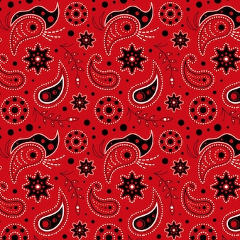 Rot gezeichnetes paisley-muster