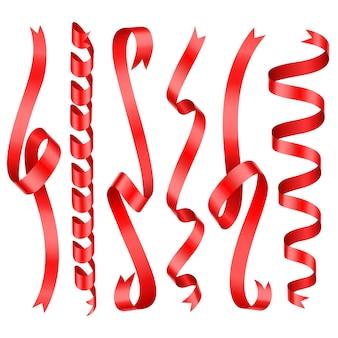 Rot glänzende gerollte vertikale vektorbänder