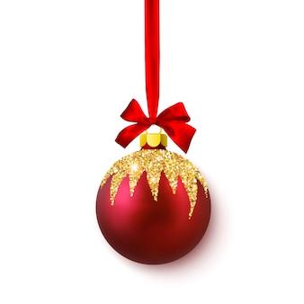 Rot glänzende glitzernde leuchtende weihnachtskugeln.