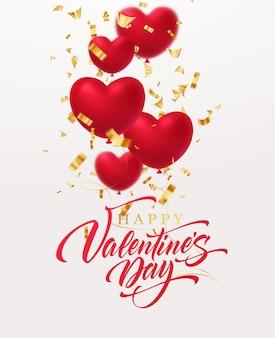 Rot glitzernde herzformballons mit golden glitzernder konfetti-inschrift happy valentines day