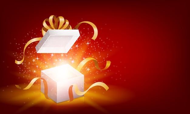 Rot öffnete 3d realistische geschenkbox
