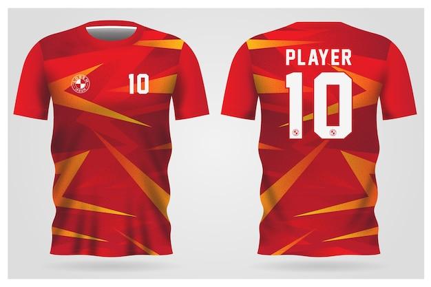 Rot-orange fußballtrikotuniform für fußballverein, t-shirt vorder- und rückansicht